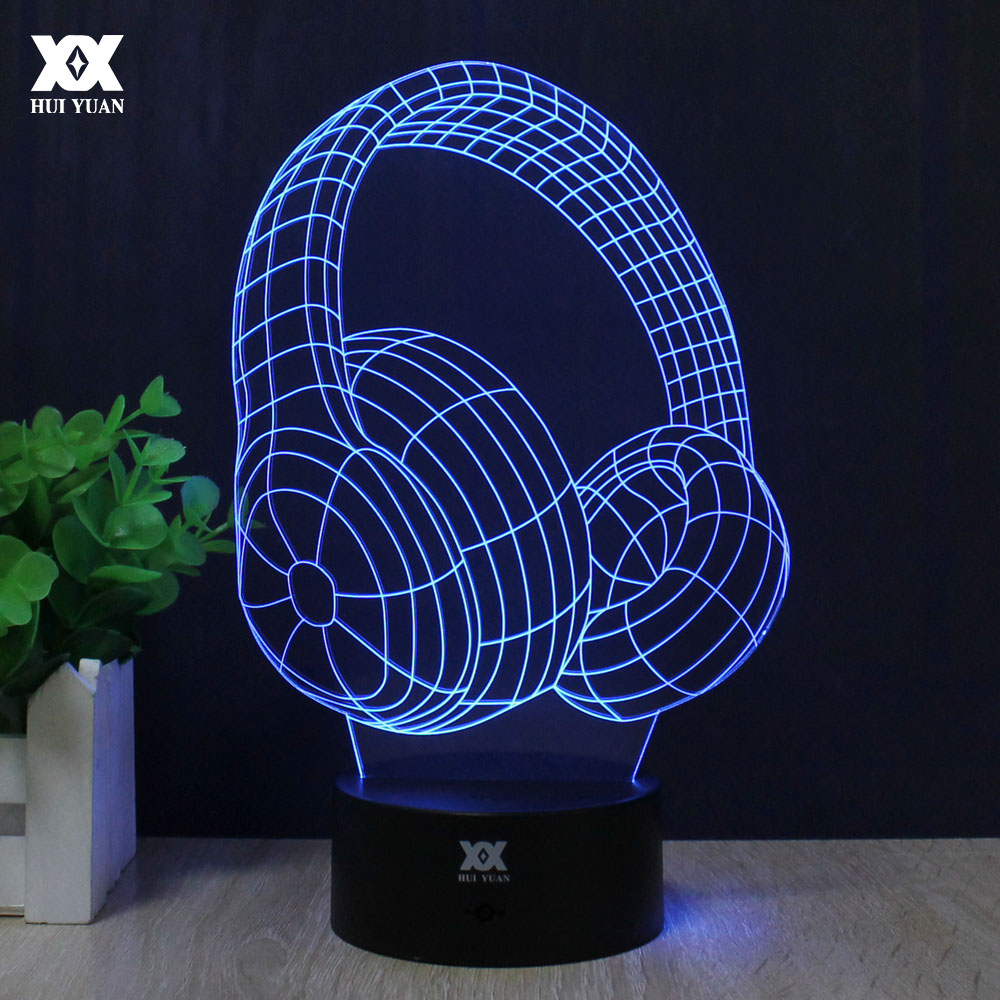 Headphone 3D Lamp Remote Control Night Light LED Decorative Table Lamp USB 7 Colors Changing Child&39;s Gift HUI YUAN Brand