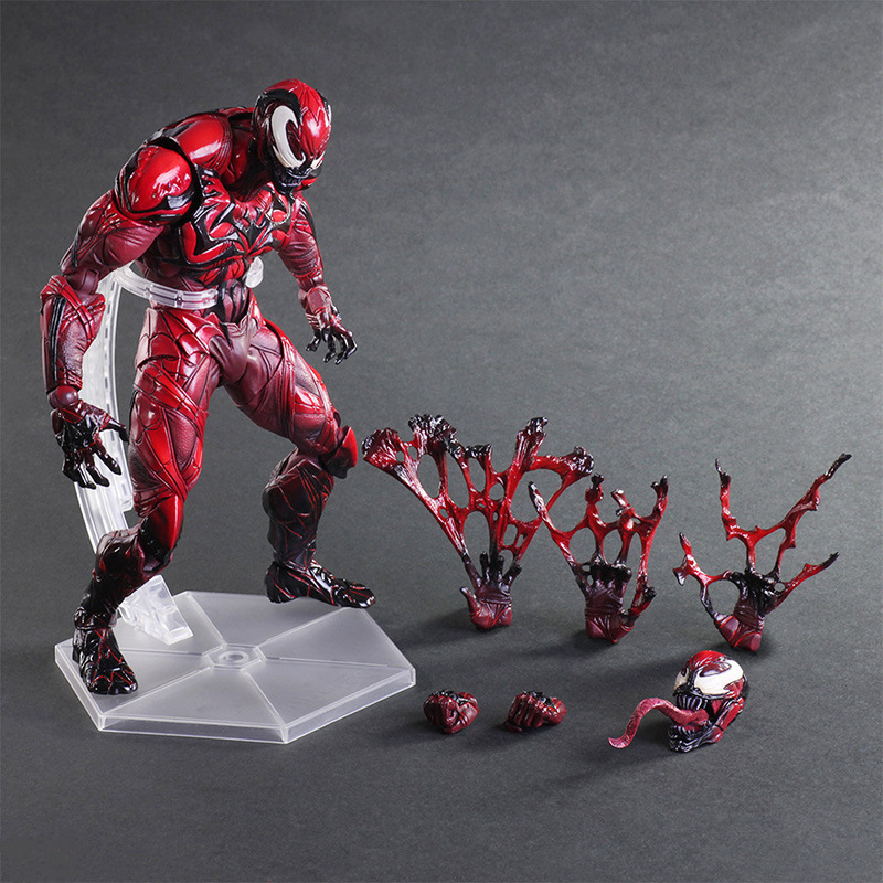 Spiderman Oyna Sanatları Kai Action Figure Venom Amazing Spiderman PVC Oyuncak 25 cm Anime Film Modeli Venom Playarts Kai Superhero