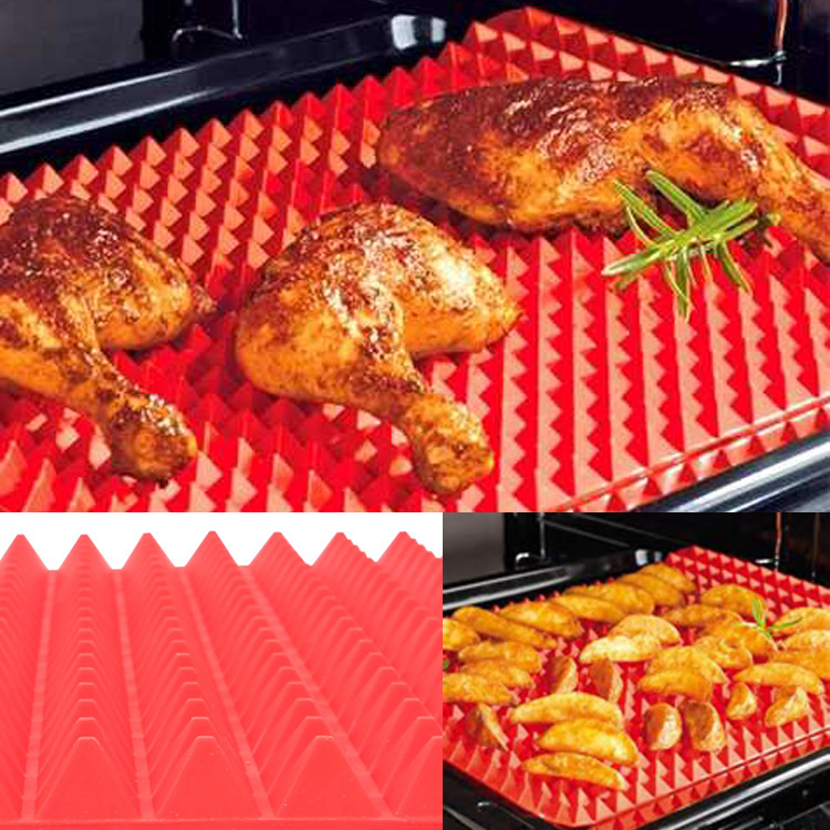 1PCS Red Pyramid Bakeware Pan Nonstick Silicone Baking Mats Pads Moulds Cooking Mat Oven Baking Tray Sheet Kitchen Tools