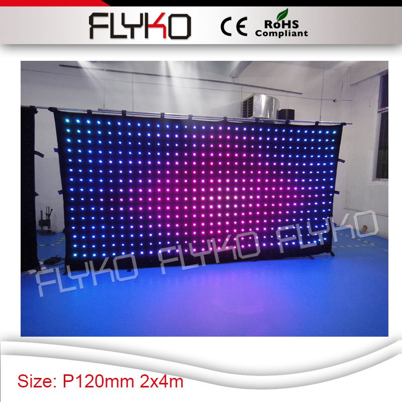 2M x 4M led video projector hot design pixel pitch 120mm dj nightclub led vision curtain for holiday event