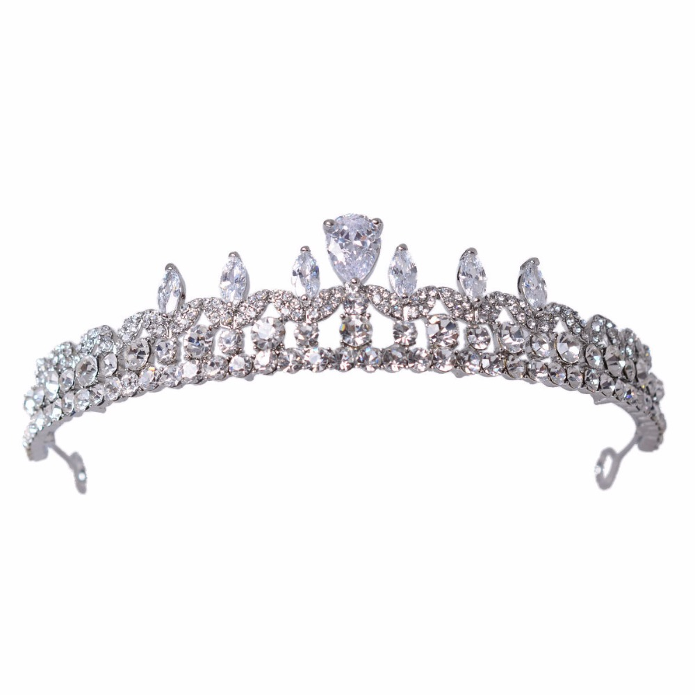 Fashion Big European Bride Wedding Crown Silver And Gold Austrian Crystal Large Queen Crown Wedding Hair Accessories