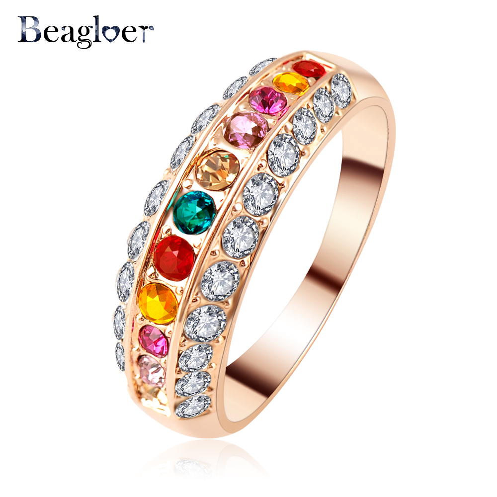 Colorful Jewelry Rings Rose Gold Color Austrian Crystal Classic Round Women Ring Ri-HQ1102-A