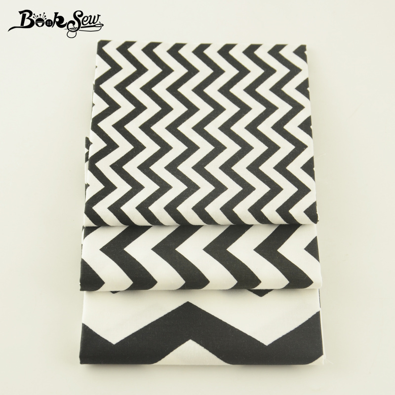 Booksew Fabric 3 Pcs/lot Quilting Twill Patchwork Black and White Waves Designs Home Textile High Quality Clothing Decoration