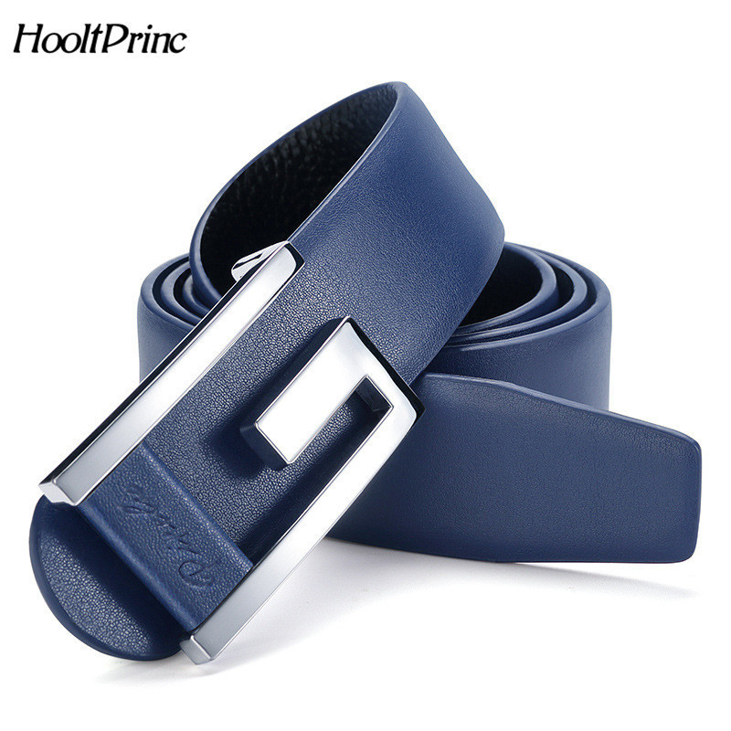 HooltPrinc Smooth buckle metals G belt mens Leisure Waistband man genuine leather Casual hombre Waist Strap fashion Cowskin sash