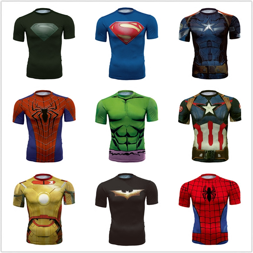 Batman Spiderman Venom Ironman Superman Kaptan Amerika Kış asker Marvel T Shirt Avengers Kostüm DC Comics Spor T-shirt