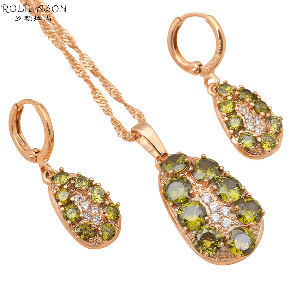 New arrival!Green Peridot jewelry sets for women gold Tone Earrings Necklace AAA Zirconia Fashion Jewelry JS474
