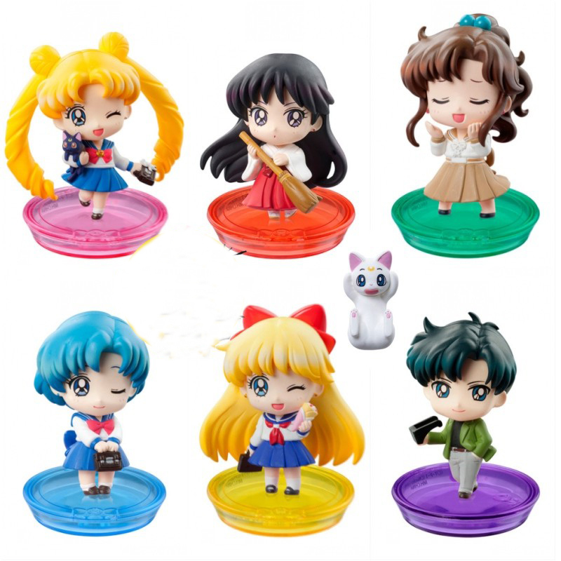 7pcs/set Anime Sailor Moon Figure Sailor Moon Mars Jupiter Venus Mercury School Life Ver PVC Action Figure Model Toys With Box